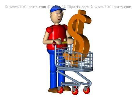 A consumer with a dollar symbol in his cart