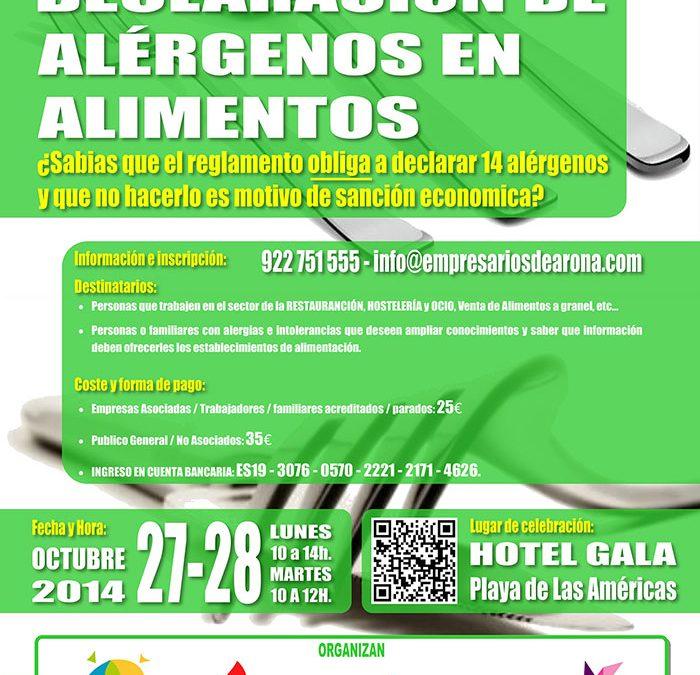 A.E.P.A.C.A. organiza un curso de ALÉRGENOS los días 27 y 28 de octubre en el Hotel Gala de Playa de Las Américas