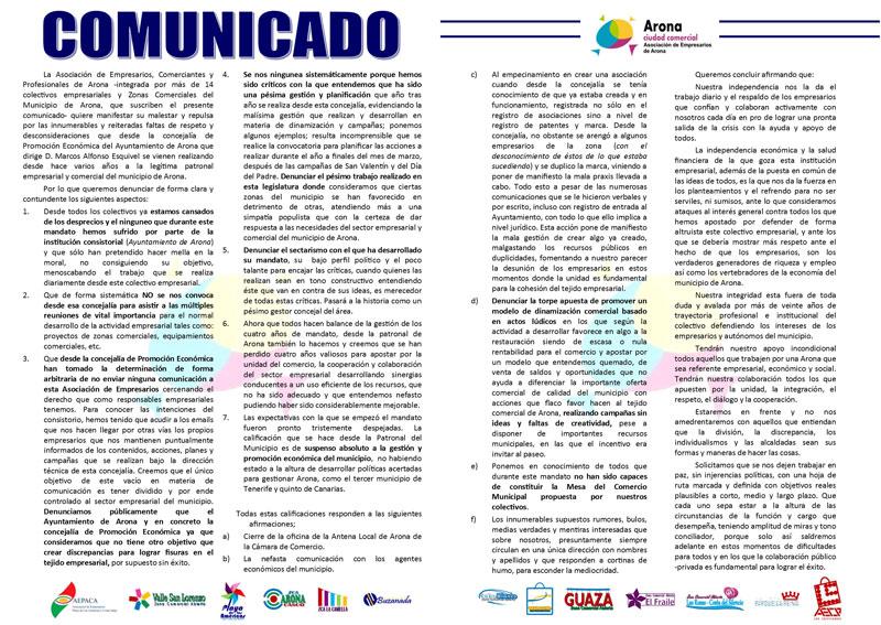 COMUNICADO DE EMPRESARIOS DE ARONA