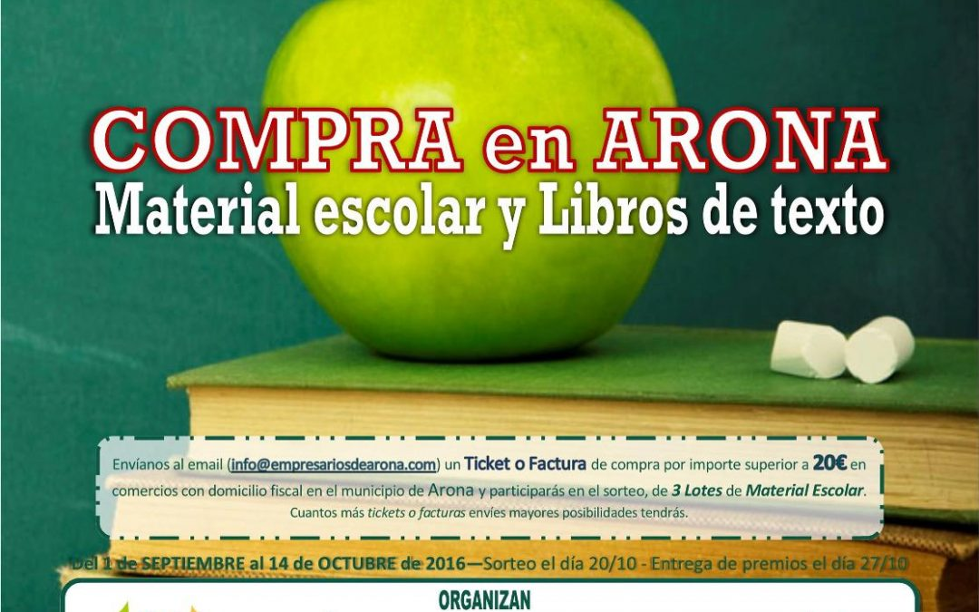 """Los Empresarios de Arona regalan con la """"VUELTA AL COLE"""" lotes de material escolar"""