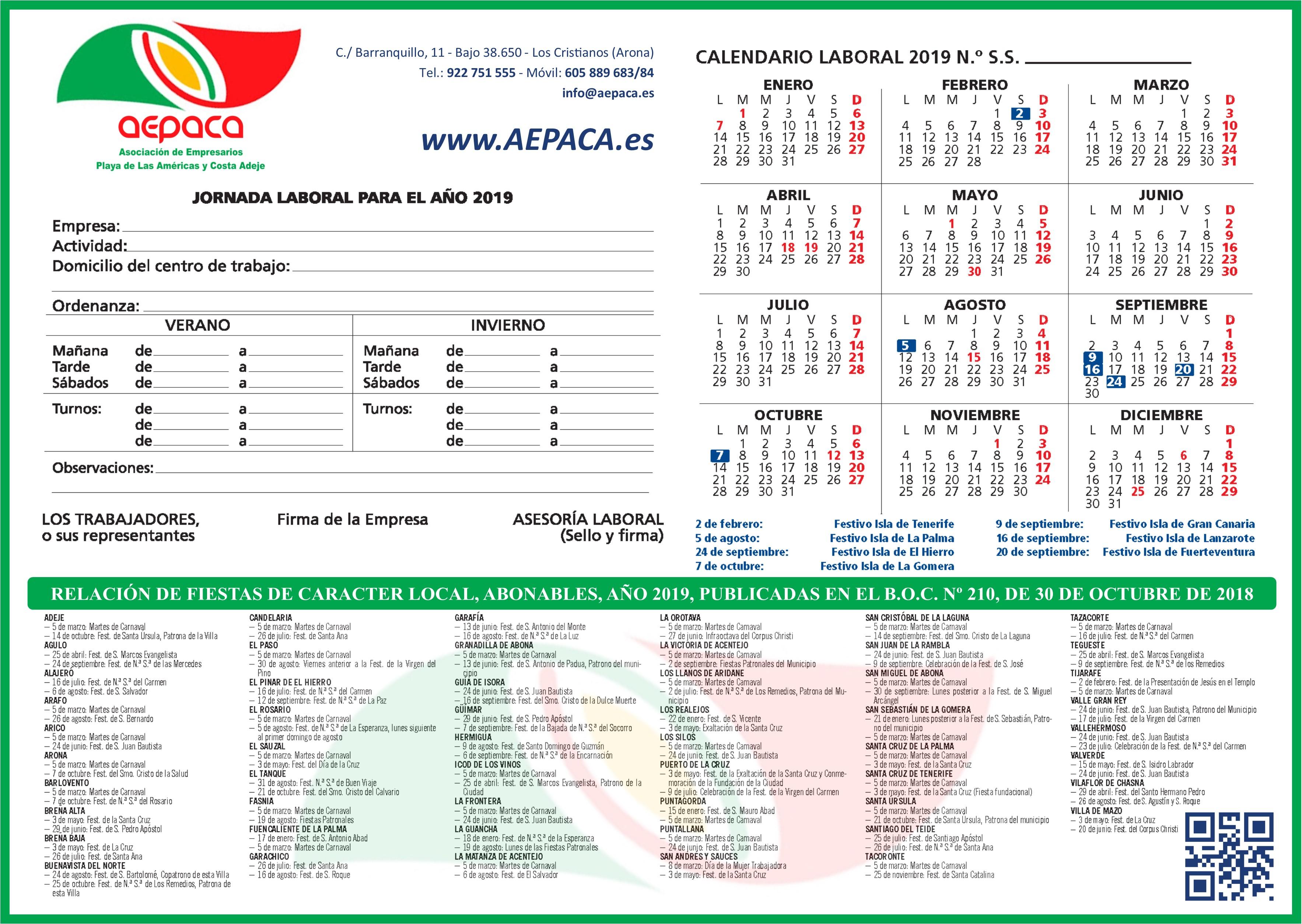 Calendario Laboral Tenerife 2019.Calendario Laboral 2019 A E P A C A Asociacion De Empresarios