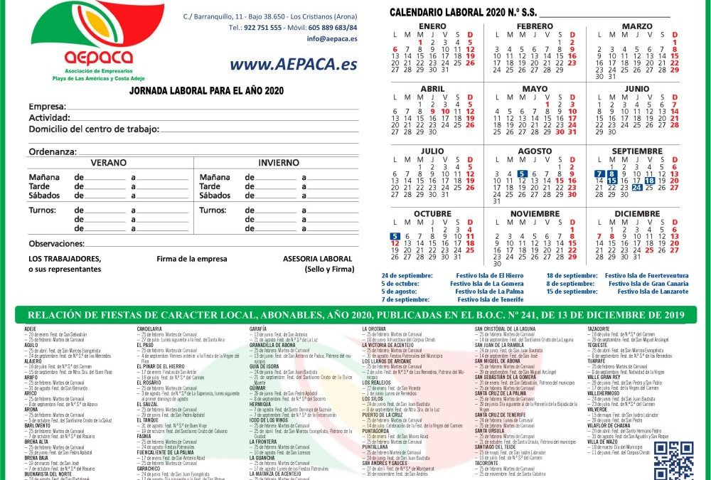 Calendario Laboral AEPACA -TFE 2020